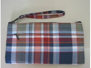 Checked fabric purse