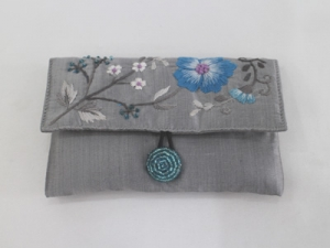Grey embroidery purse